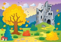 autumn theme with castle ruins - illustration. - stock illustration