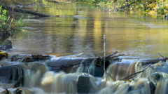 Beautiful river cascade with long exposure, 4k timelapse, camera zoom out - stock footage
