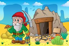 Desert with old mine theme - illustration. Stock Illustration