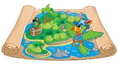 Treasure map theme image - illustration. Stock Illustration