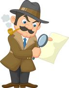 Cartoon Detective Man Piirros