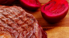 Roast beef garnished with green staff Stock Footage