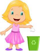 Young girl cartoon throwing trash into litter bin Stock Illustration