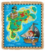 Treasure map topic image - illustration. Stock Illustration