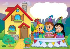 kids party near house - illustration. - stock illustration