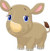 Cute baby rhino cartoon - stock illustration