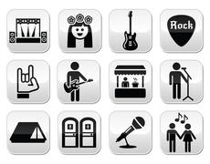 Music festival, live concert vector buttons set - stock illustration