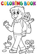 Stock Illustration of coloring book father with child - illustration.