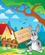 Easter bunny topic image - illustration. Stock Illustration