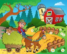 Farm theme with red barn - illustration. Stock Illustration