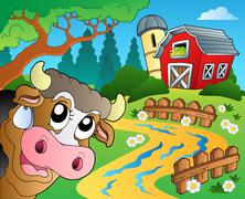 farm theme with red barn - illustration. - stock illustration