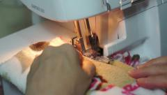 Sewing With a Serger Machine Stock Footage