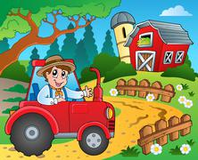Farm theme with red barn - illustration. Piirros