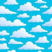 Seamless background clouds on sky - illustration. Stock Illustration