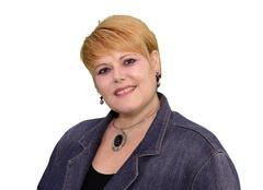 mature woman body language - confident smiling - stock photo