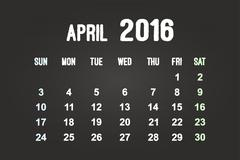 April Month 2016 Calendar - stock illustration