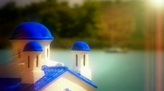 Traditional Greek church on the coast Stock Footage