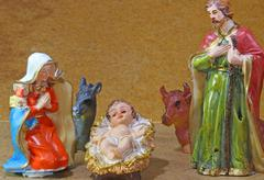 Holy family in the tradition of christmas with animal farm Stock Photos