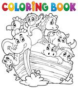 Coloring book noahs ark theme - illustration. Stock Illustration