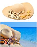 Woman beach hat, bright towel and flowers against blue ocean Stock Photos