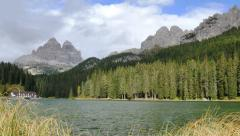 Time lapse clouds lake misurina three peaks 11534 Stock Footage