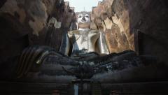 Ancient Buddha Statue at Wat Si Chum, Sukhothai Historical Park, Thailand - stock footage