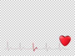 Heartbeat animated with ECG trace 60bpm Stock Footage