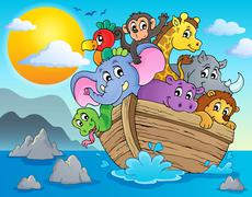 noahs ark theme image - illustration. - stock illustration