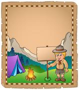 Parchment with scout boy and board - illustration. Piirros
