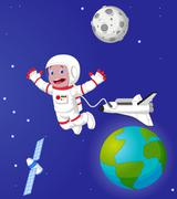 The astronaut cartoon in outer space - stock illustration