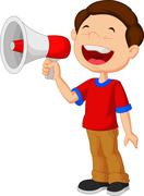 Child cartoon screaming into a megaphone Stock Illustration