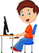 Kid cartoon with personal computer - stock illustration