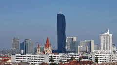 Skyline of the Danube City Vienna with the brand new DC-Tower - stock footage