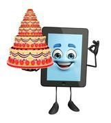 Stock Illustration of tab character with cake