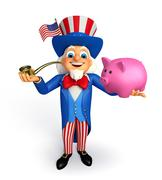 Uncle sam with piggy bank Stock Illustration