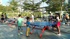 The citizens in playing table tennis, in China Stock Footage