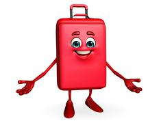 travelling bag chatacter is presenting - stock illustration