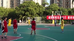 The basketball match in Baoan stadium, Shenzhen Stock Footage