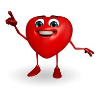 heart shape character is pointing - stock illustration