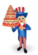 uncle sam with cake - stock illustration