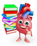 Heart character with books pile Stock Illustration