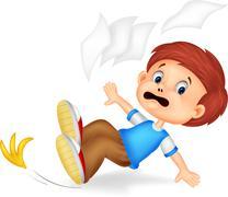 Cartoon boy fall down Stock Illustration