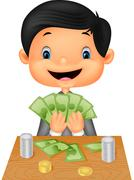 Cartoon boy counting the money Stock Illustration