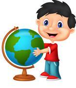 Cute boy cartoon looking at globe Stock Illustration