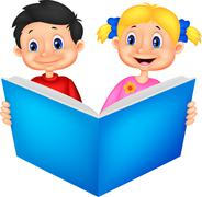 Children cartoon reading a book - stock illustration