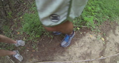 Tourist having fun on the trails of the United States Virgin Islands - stock footage