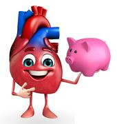 heart character with piggy bank - stock illustration