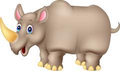 Cute Rhino cartoon - stock illustration