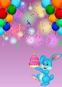 Cute rabbit cartoon holding birthday cake Stock Illustration