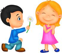 Cartoon Little boy kneels on one knee giving flowers to girl - stock illustration